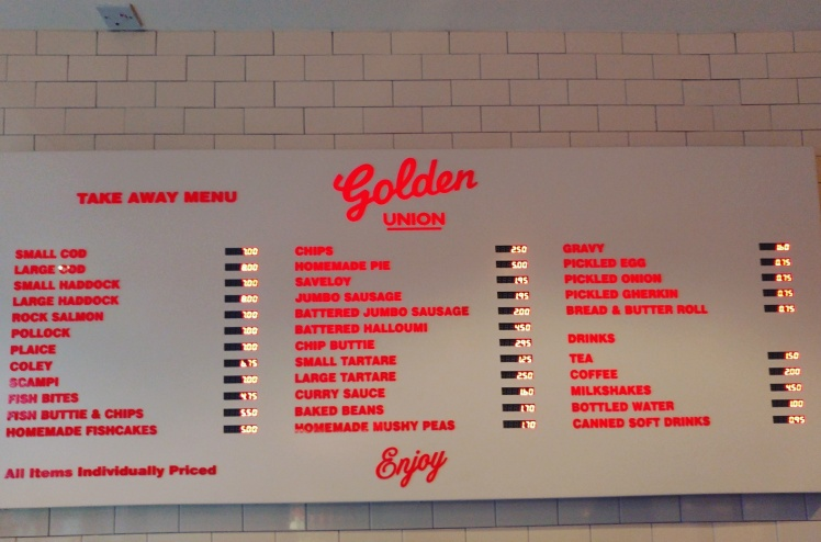 Golden Union Fish and Chips Menu