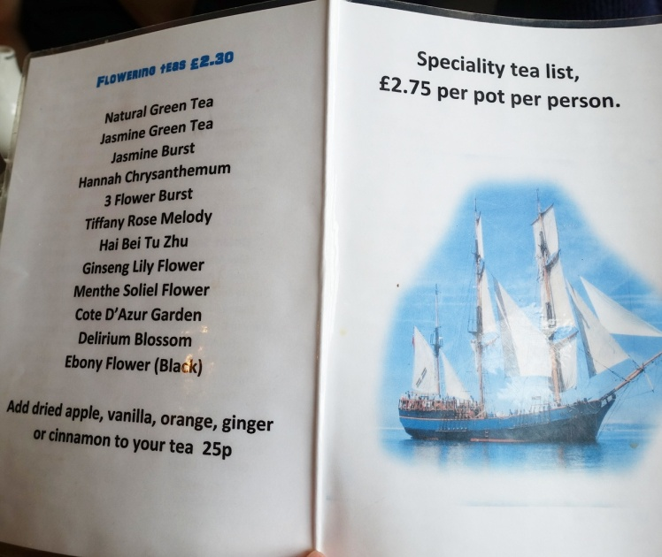 Jolly Roger Tea Room in Exeter drinks Menu