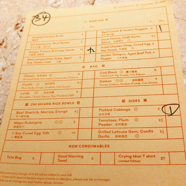 Bao London Menu